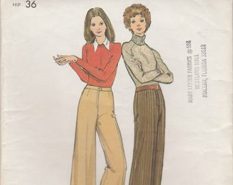 70s Wide Legged Pants Pattern Butterick 6926 Waist 26 1/2 Uncut
