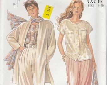 90s Wide Legged Pants, Blouse & Jacket Pattern New Look 6517 Sizes 8-20 Uncut