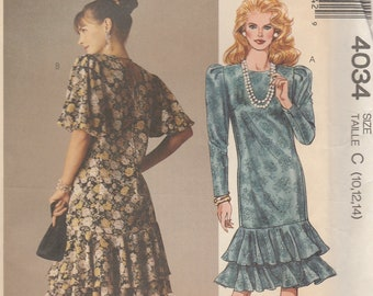 80s Flounce Dress Pattern McCalls 4034 Sizes 10 12 14 Uncut