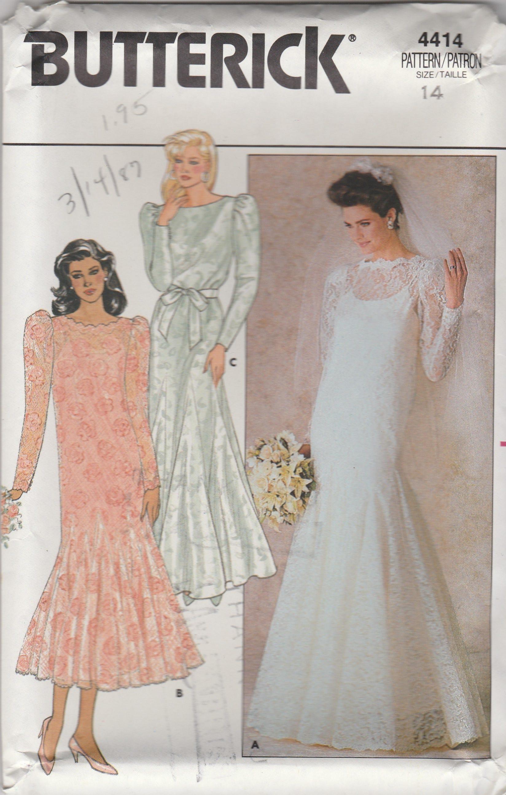 80s Godet Mermaid Wedding Dress Pattern Butterick 4414 Size 12 | Etsy