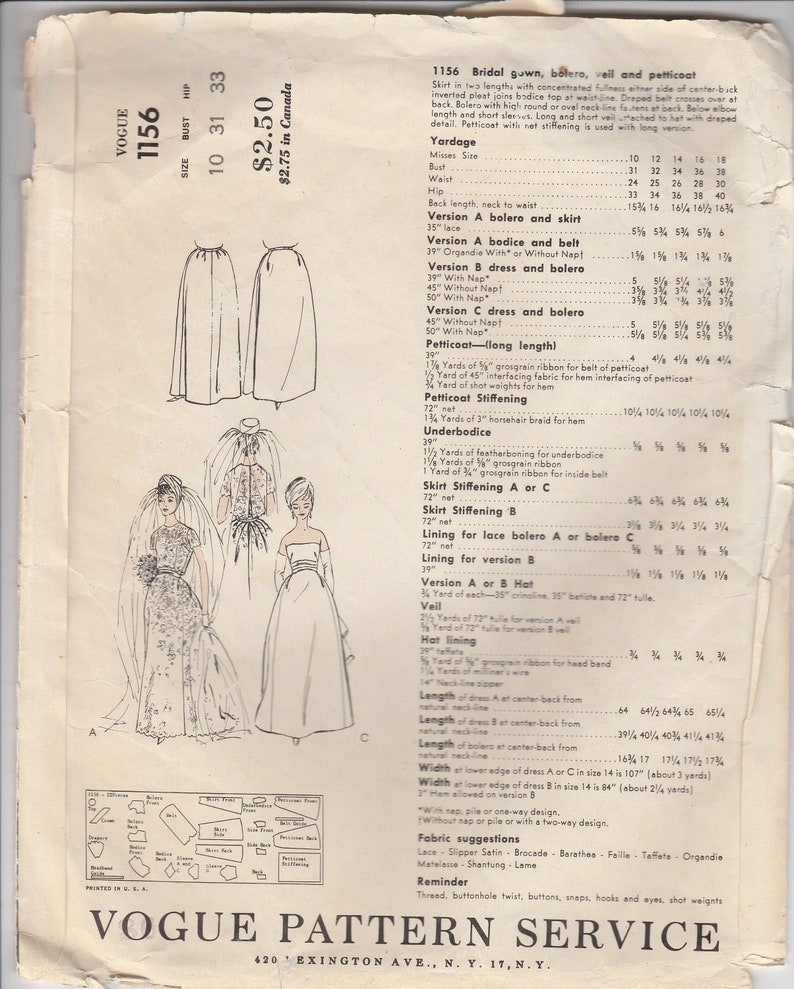 60s Designer Wedding Gown Veil Bolero /& Petticoat Pattern Vogue 1156 Size 10