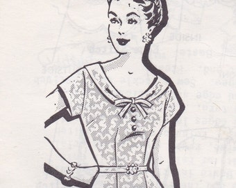 Pretty 1950s Day Dress Pattern Mail Order 1318 Size 38 Bust 40