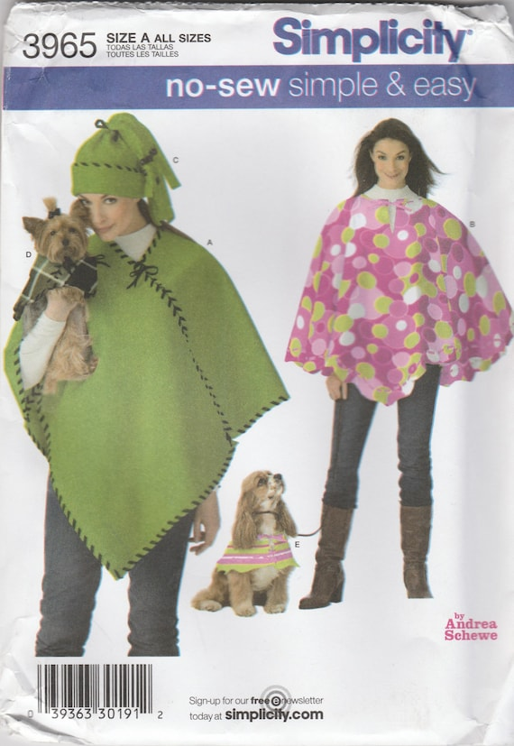 No Sew Hat, Poncho & Dog Poncho Pattern Simplicity 3965 Uncut from ...