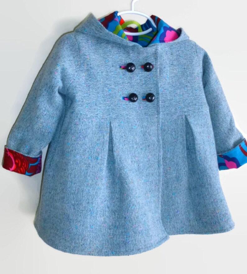 c376aadf0 Toddler Girls Winter Swing Coat in Corduroy Wool or Tweed