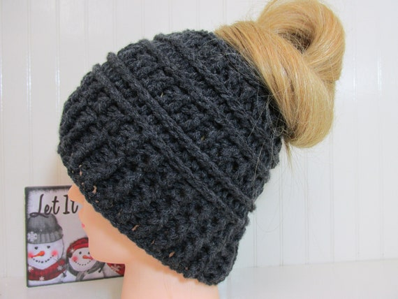 Messy Bun katniss beanie hat ponytail hat with hole  custom  69998a06934