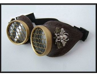 Steampunk Goggles, Large Bee, Brass, Burning Man, Cyberpunk, Mad Max, Cosplay, Goggles, Costume, Festival, Dieselpunk, Faux leather