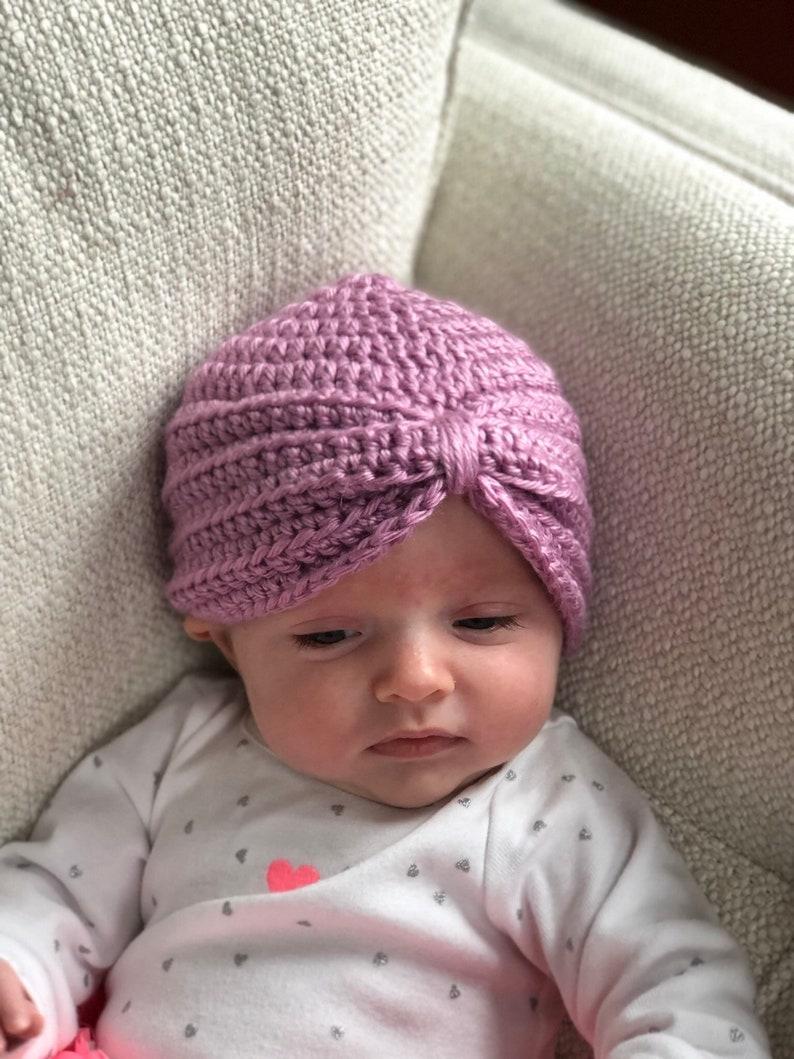 7cf52d87f Baby Turban – Ultra Soft Acrylic – Lavender, Handmade Baby Girl Crochet Hat
