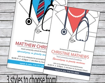 Medical School Graduation Invitation Tie, Bow tie or Pearls
