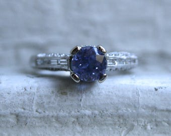 Vintage 18K White Gold Diamond and Lavender Sapphire Engagement Ring - 1.87ct.