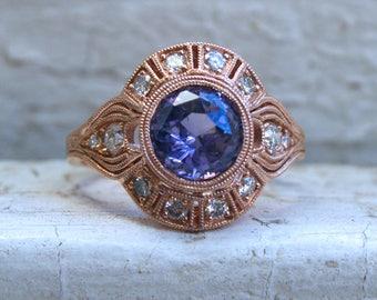 Vintage Inspired Diamond Halo Lavender Sapphire Engagement Ring Wedding Ring in 14K Rose Gold.