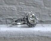 Beautiful Vintage Platinum Halo Diamond Engagement Ring - 2.47ct.