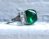 Platinum Art Deco Style Sugarloaf Emerald and Diamond Ring Engagement Ring Wedding Ring.