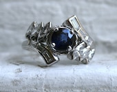 Pretty Vintage 14K White Gold Diamond and Sapphire Cluster Ring Engagement Ring - 1.90ct.