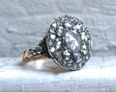 Gorgeous Georgian Antique 14K Yellow Gold/ Silver Diamond Rose Cut Ring Engagement Ring - 2.65ct.