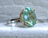 Gorgeous Vintage Green Beryl Solitaire Ring Engagement Ring -13.00ct.