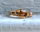 Antique 18K Yellow Gold Fede Gimmel Ring.
