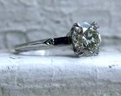 Classic Vintage Platinum Diamond Engagement Ring with Baguette Sapphires - 2.30ct.