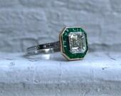 Vintage Platinum Asscher Cut Diamond and Emerald Ring Engagement Ring - 2.26ct.