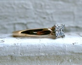 Traditional Vintage 14K Yellow Gold Princess Cut Diamond Solitaire Engagement Ring.