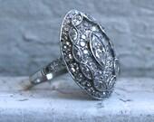 Vintage Art Deco Platinum Navette Marquise Diamond Ring Engagement Ring - 3.26ct.