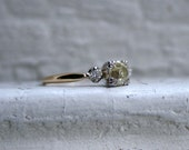 Vintage 14K Yellow Gold Diamond Three Stone Engagement Ring by Art Carved - 0.99ct