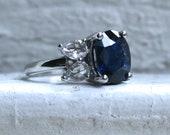 Classic Unheated GIA Sapphire Diamond Ring Engagement Ring Wedding Ring in Platinum - 5.40ct.