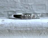 Vintage 14K White Gold Diamond Shared Prong Set Wedding Band - 0.70ct.