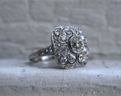 RESERVED - Gorgeous Antique Platinum Diamond Cluster Engagement Ring - 3.88ct.