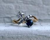 Wonderful Vintage 14K Yellow Gold Diamond/ Sapphire Twin Stone Engagement Ring.