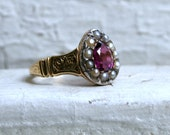Gorgeous Antique Purple Sapphire and Seed Pearl 15K Yellow Gold Ring.