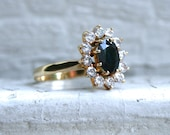 RESERVED  - Vintage 14K Yellow Gold Diamond and Sapphire Halo Engagement Ring - 2.10ct.
