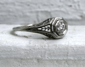 RESERVED - Pretty Vintage 18K White Gold Diamond Filigree Engagement Ring