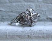 Intricate Vintage Platinum Diamond Art Deco Engagement Ring - 2.86ct