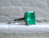 Classic Vintage Platinum Natural Emerald Engagement Ring with Baguette Diamonds - 4.80ct.