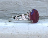 Amazing Vintage 14K White Gold Diamond and Ruby Engagement Ring - 3.60ct.