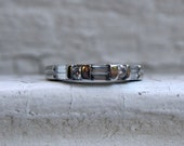 Fabulous Vintage Platinum Baguette and Round Diamond Ring Wedding Band - 0.50ct.