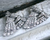 Stunning Art Deco Platinum Double Clip Wings Brooch - 6.64ct.