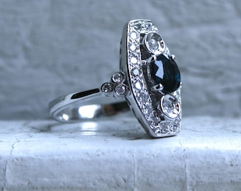 Beautiful Vintage 14K White Gold Diamond and No Heat Australian Sapphire Navette Ring with GIA Certificate - 1.45ct.