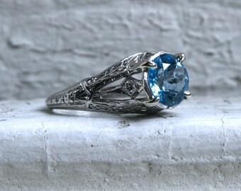 Beautiful Vintage Platinum Pave Diamond and Blue Topaz Engagement Ring - 2.60ct.