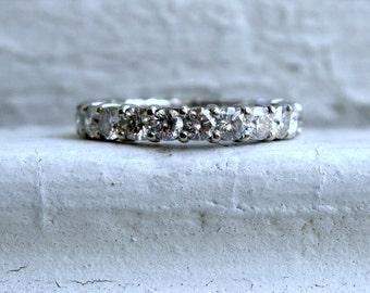 Vintage 14K White Gold Diamond Eternity Wedding Band - 3.30ct
