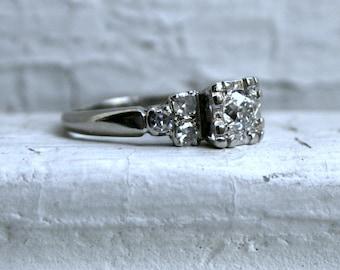 Fabulous Vintage 14K White Gold Diamond Engagement Ring - 0.71ct.