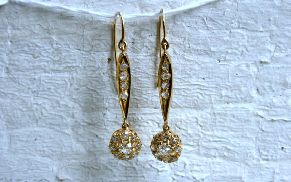RESERVED - Antique Victorian 15K Yellow Gold Diamo