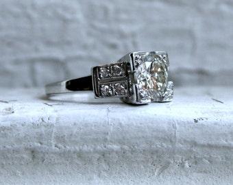 Vintage Art Deco 18K White Gold Diamond Engagement Ring - 1.41ct.