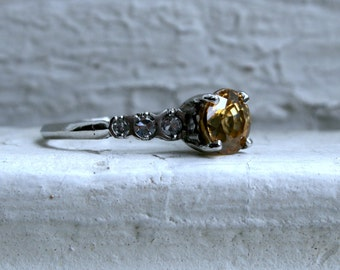 Vintage Platinum Yellow Zircon Engagement Ring - 2.24ct.