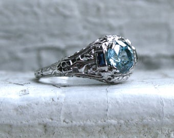 Beautiful Vintage 18K White Gold Sapphire and Blue Zircon Engagement Ring - 1.60ct.