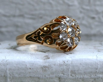 Antique 18K Yellow Gold Diamond Cluster Engagement Ring - 0.80ct.