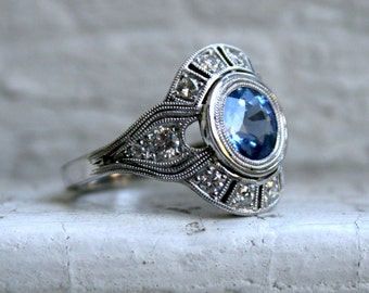 Vintage Inspired Diamond Halo Sapphire Engagement Ring Wedding Ring in 14K White Gold.