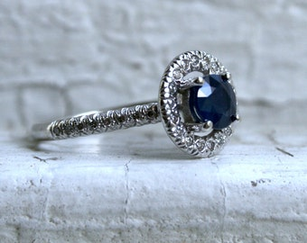 Classic Vintage 14K White Gold Pave Diamond and Sapphire Halo Ring - 1.34ct.