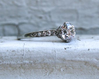 Payment 2 of 2. Rare Authentic Vintage Tiffany & Co Diamond Platinum Ring Engagement Ring - 1.00ct.