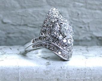 Amazing Vintage 14K White Gold Diamond Navette Ring - 2.16ct.